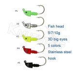 CHLP72 fish lead head jig hook 5 colors
