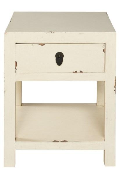 Comodino 1 Cassetto 1 Ripiano Shabby Bianco - KMV Home Store - stocKMarket