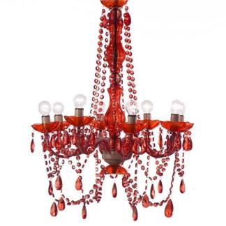 Lampadario 8 Luci con Gocce Rosso - KMV Home Store stocKMarket