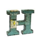 Lettera Monogramma, H, in Metallo Original Industrial Reused