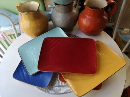 Piatto Piano Vassoio Rettangolare Gres Porcellanato Toscana Rosso - KMV Home Store stocKMarket