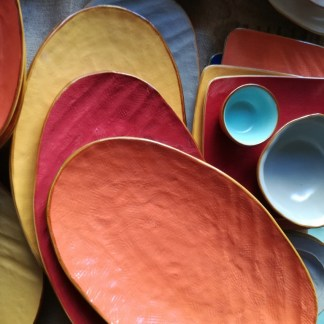 Piatto Portata Vassoio Ovale Colorato Toscana Gres Porcellanato KMV Home Store stocKMarket