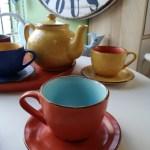 Tazza da Tea con Piattino, in Gres, Turchese e Arancio, Toscana
