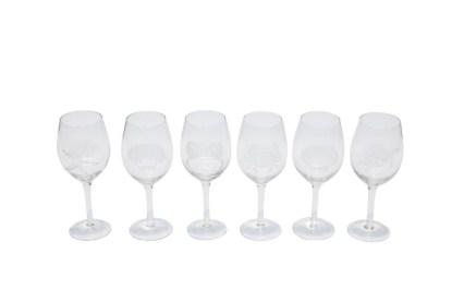 Bicchiere Calice Vetro Cala Luna Vino Trasparente Set 6 Motivo Mare Assortito Satinato - KMV Home Store stocKMarket