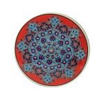 Sottopentola Tondo, in Azzurro e Rosso, Ceramica, Dipinto a Mano, Originale Turchia