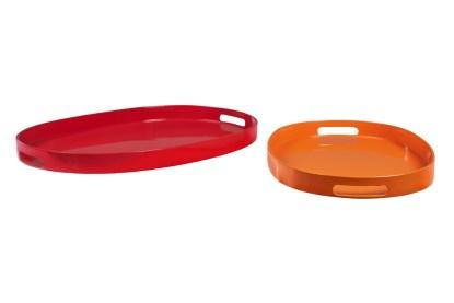 Vassoio Ovale Grande Colorato Resina Maniglia - KMV Home Store stocKMarket