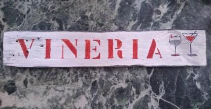 Vineria Insegna Freccia Targa Legno Reused Recycled Vintage Retrò - KMV Home Store stocKMarket