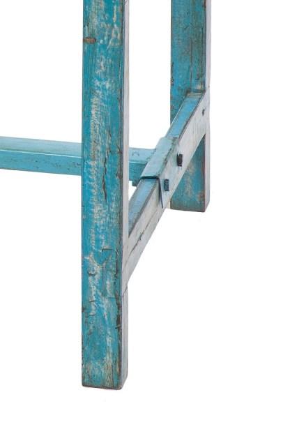 Tavolo Decapato Azzurro Legno Metallo Reused - KMV Home Store stocKMarket