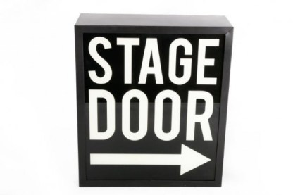 Insegna Targa Cartello Lampada Stage Door Luminosa Metallo Vetro Nero Bianco - KMV Home Store stocKMarket
