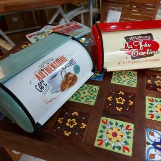 Portapane Boulangerie Portadolci Croissant Scatola Box Colorato Sportello Vintage Retrò Metallo - KMV Home Store stocKMarket