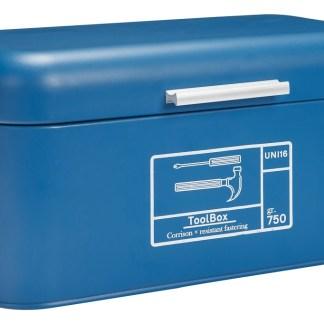 Scatola Attrezzi Tool Box Blue Maniglia Vintage Retrò Metallo - KMV Home Store stocKMarket