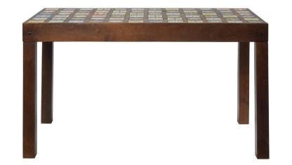 Tavolo Alto Intarsiato Maioliche Rettangolare Legno Massello Ceramica - KMV Home Store stocKMarket