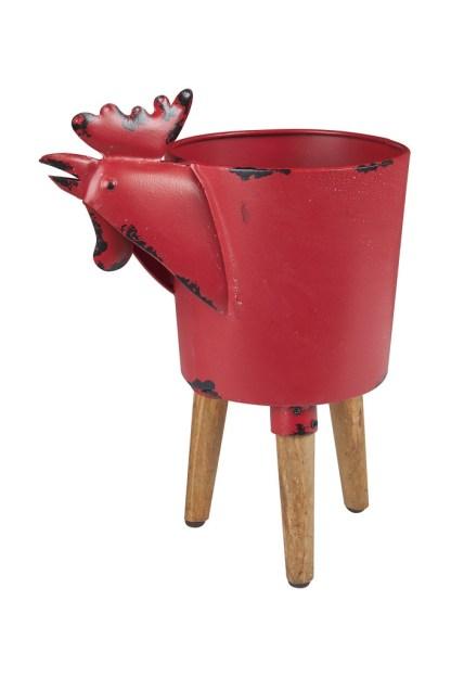 Portavaso Cachepot Contenitore Gallo Rosso Metallo Legno Vintage - Kmv Home Store stockmarket