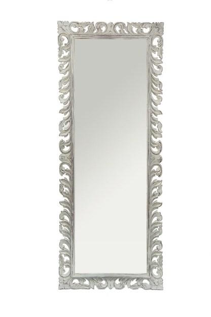 Specchio Cornice Intagliata Legno Bianco Decapato - KMV Home Store stocKMarket