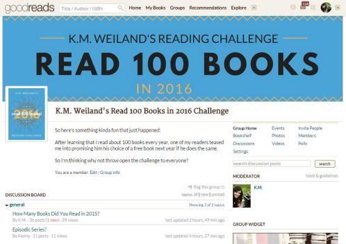K.M. Weiland's Reading Challenge Read 100 Books in 2016