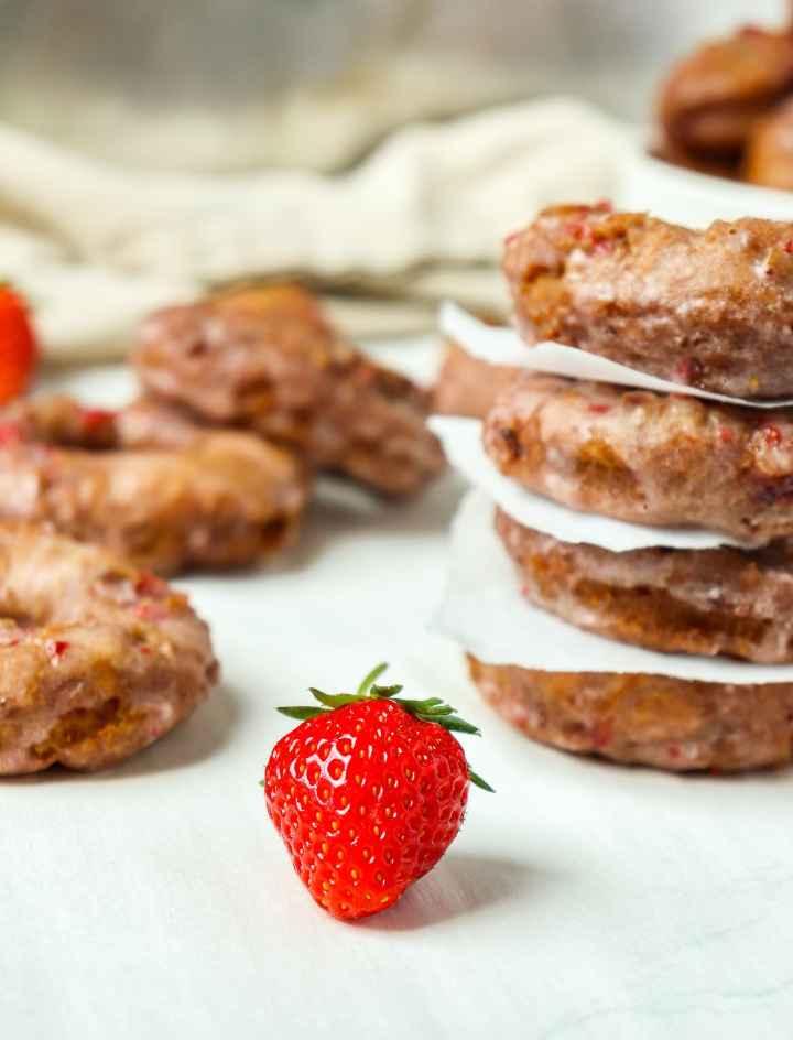 Strawberry Sour Cream Doughnuts