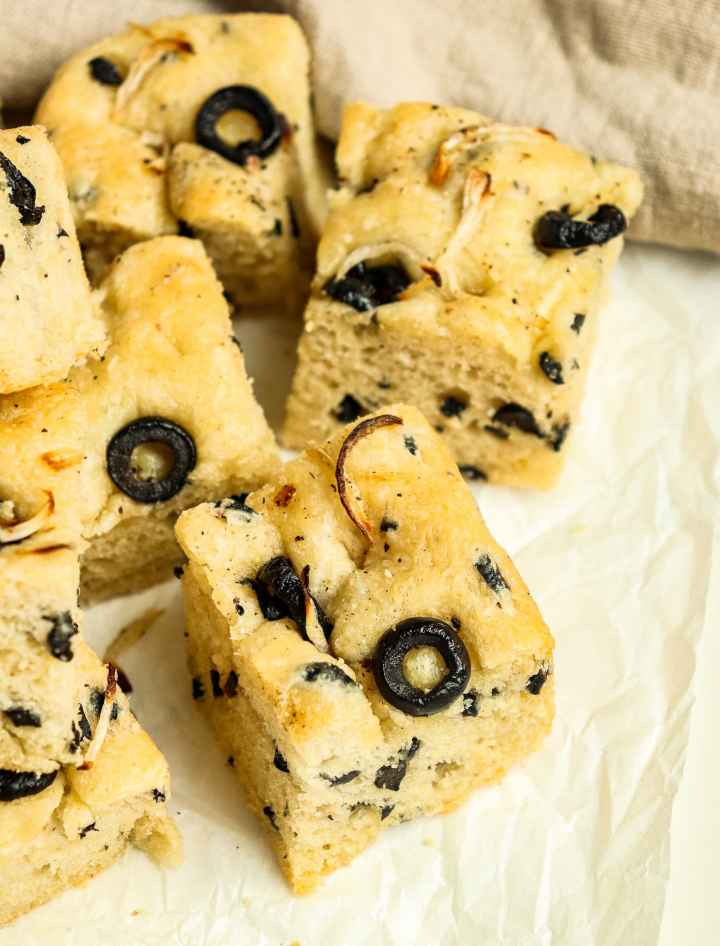 pieces of Black Olive Shallot Focaccia Bread