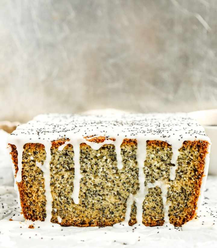 poppy seed pound cake topped with icing