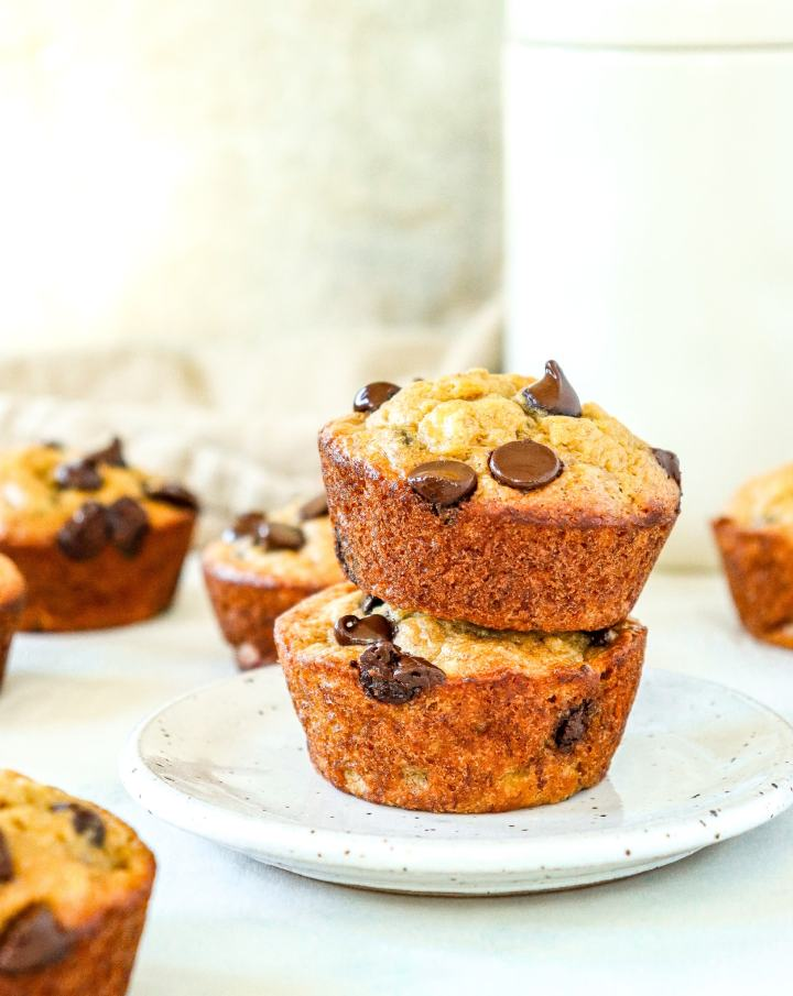 stack of banana muffins with chocolate chips