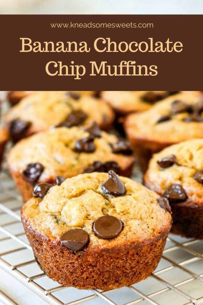 Banana Chocolate Chip Muffins on a wire rack
