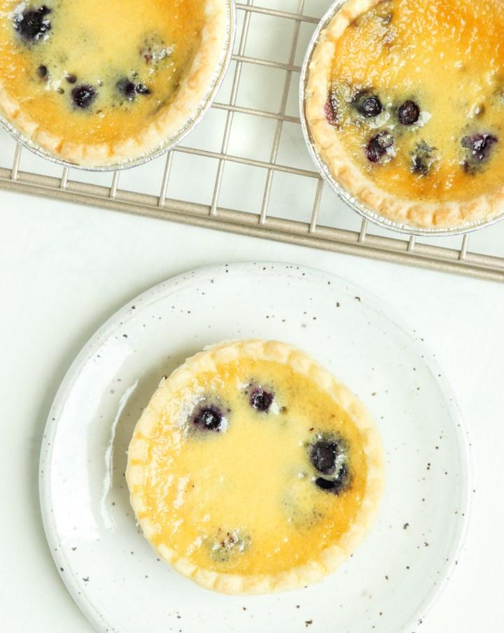 custard tarts with blueberries