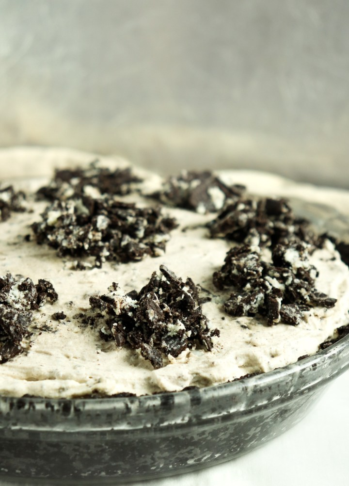 pie topped with chopped Oreos