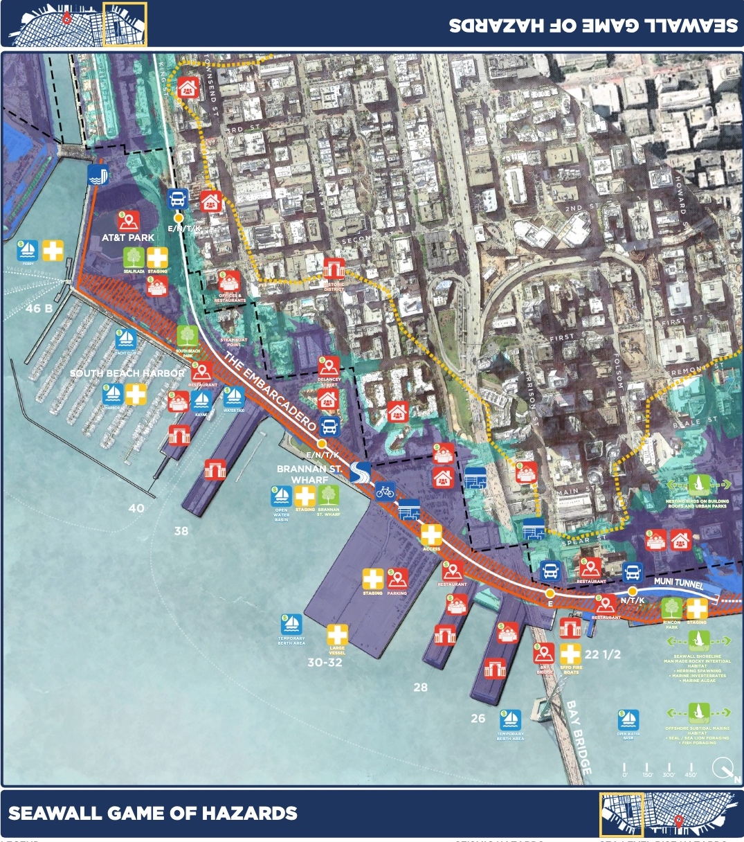 colorful sameboard map showing sea level rise hazards on the SF shore on embarcadero