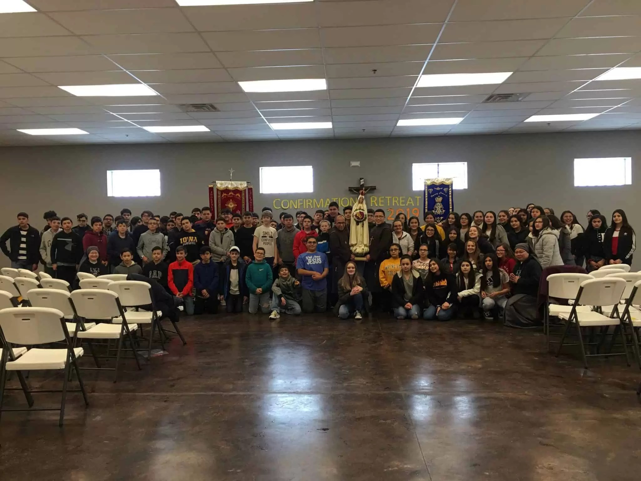 Students, Sisters, and Knights at confirmation retreat