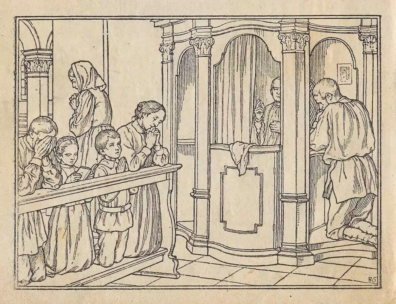 Drawing of people going to confession