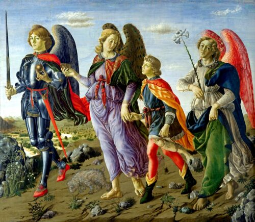 'Tre Arcangeli e Tobias' ('The Three Archangels and Tobias') by Botticini, Francesco (ca. 1470 AD) in Galleria degli Uffizi, Florence, Italy, depicting Michael Raphael & Gabriel escorting a young nobleman