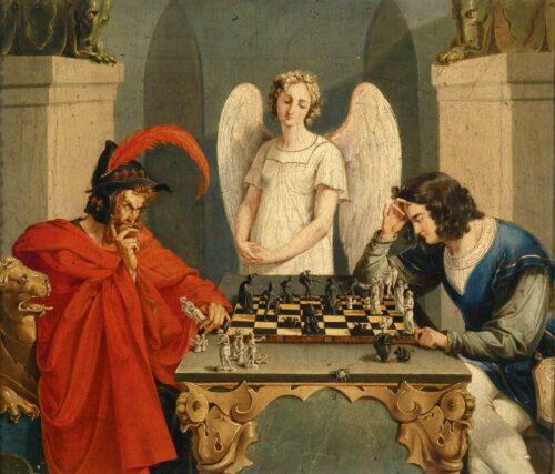 """'Faust und Mephisto beim Schachspiel' (ca. 1825 AD) by Friedrich August Moritz Retzsch, also called """"Chess with the Devil"""""""