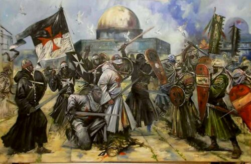 'Jerusalem' (2014), allegorical oil painting of Templars & Saracens on Temple Mount, by Jason Askey (South African artist)