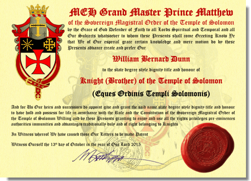 (SAMPLE) KNIGHTHOOD Letters Patent Texture (Web)