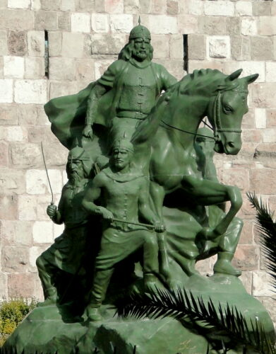 Statue of Saladin at the Citadel in Damascus Syria