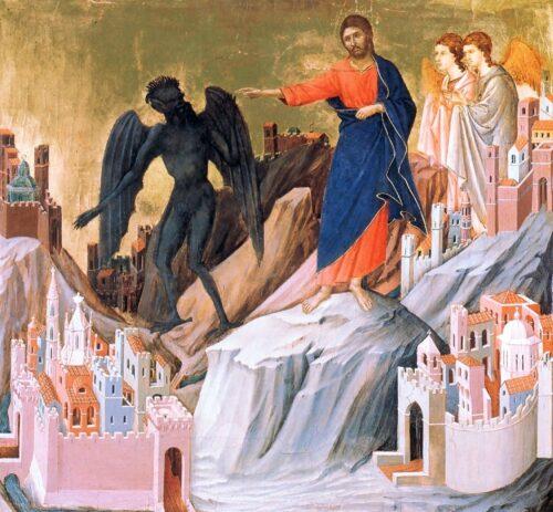 'The Temptation of Christ on the Mountain' (ca. 1310 AD) by Duccio di Buoninsegna, depicting Jesus banishing the Devil