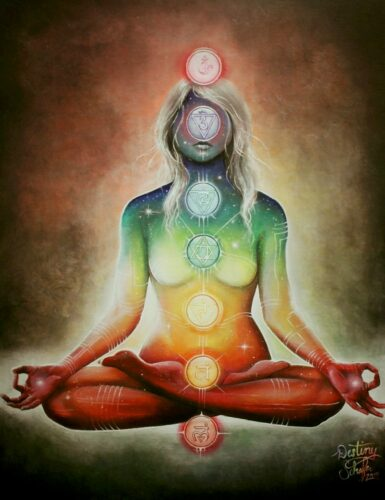'Destiny' by Schafer (2011) painting of Chakras during spiritual energy work