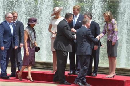 Premier Mike Eman vergezelde het koninklijk paar zaterdag bij hun bezoek aan Venezuela en had daar een uitgebreid gesprek met de regering over oliezaken. FOTO PERSVOORLICHTING ARUBA
