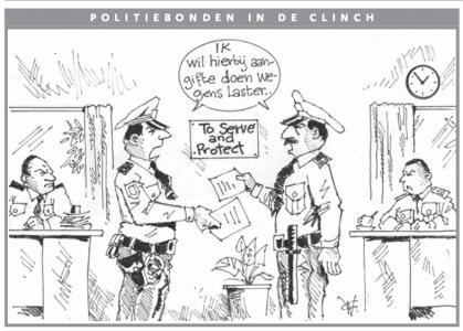 AD cartoon| Politiebonden in de clinch