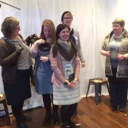 Meg, Emily, Isla and Mariette with Jane and her awesome sheeop scarft