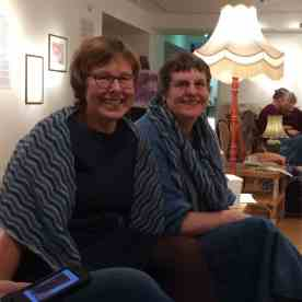 Christine and Heather in their matching Northmavine haps!