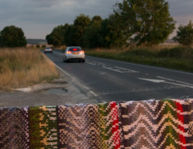 The A4074 road on which I commute, as translated into knitted stitches