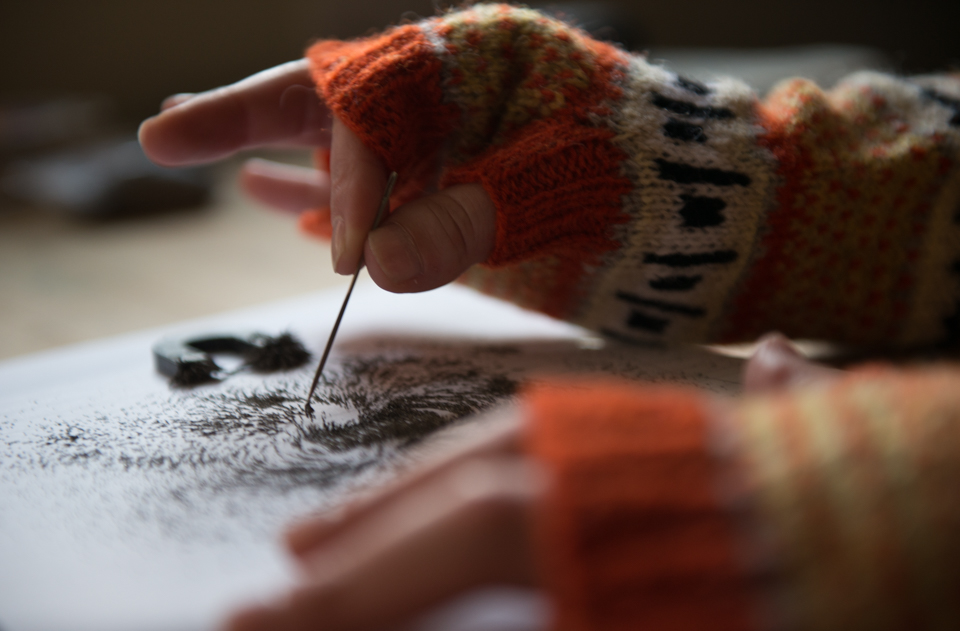 wonders of electricity mitts - one of the garment patterns included in the KNITSONIK Stranded Colourwork Sourcebook