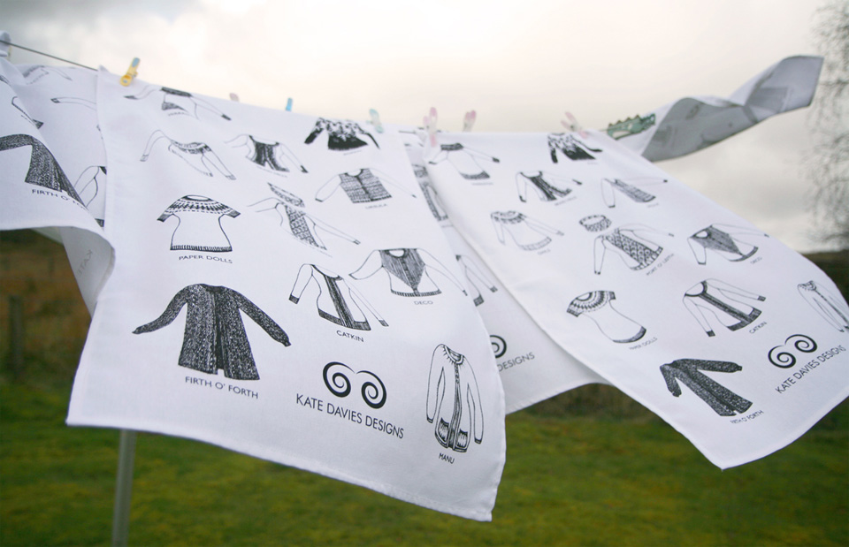 KDD tea towels - knitwear designs by Kate Davies, illustrated by Felicity Ford