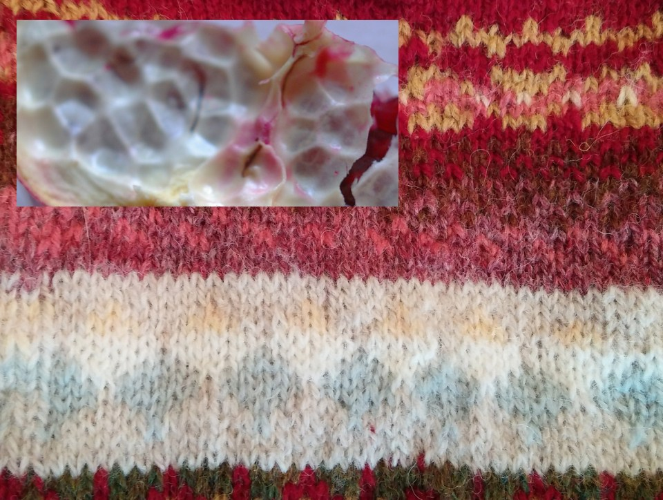 waxy interior of pomegranate in stranded colourwork by jbwb