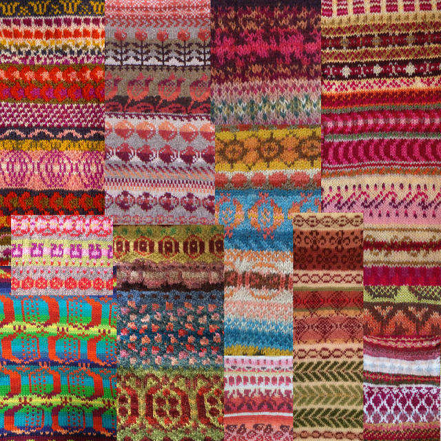 swatches created during the #knitsonikpomegranates swatch-a-long