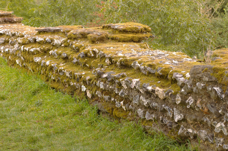Roman Wall at Silchester - the inspiration source for Bev's mitts and tam
