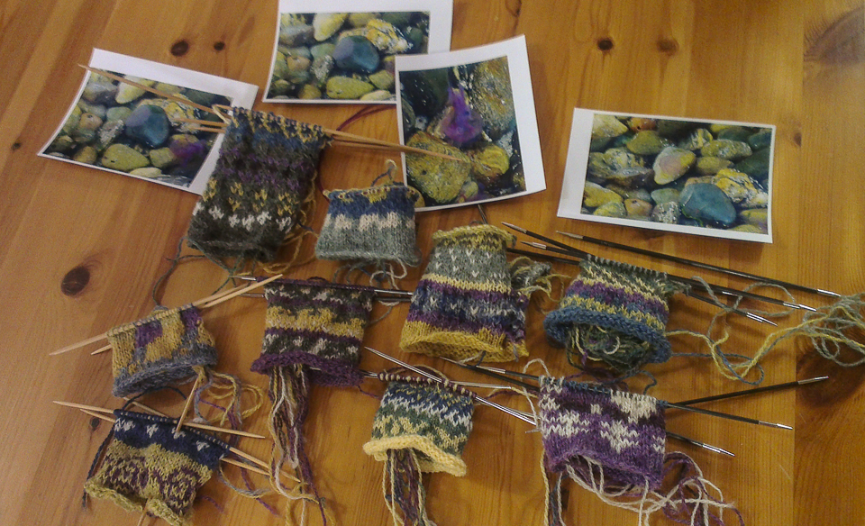 Some of the beautiful swatches produced during Shetland Wool Week