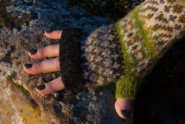 Mitt no. 1, photographed against the mossy textures of the wall at Silchester