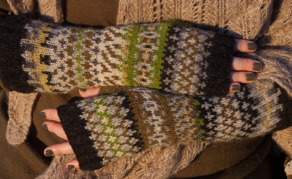My non-identical twin mitts, inspired by Nicola's mitts!