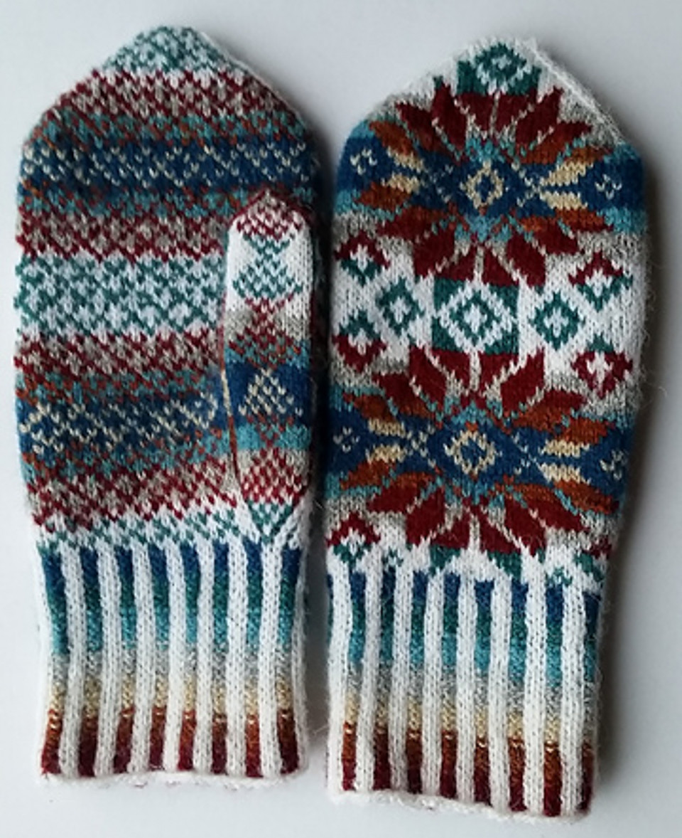 The winning mitts in the Jamieson & Smith Winter Woollies KAL, designed by Bev